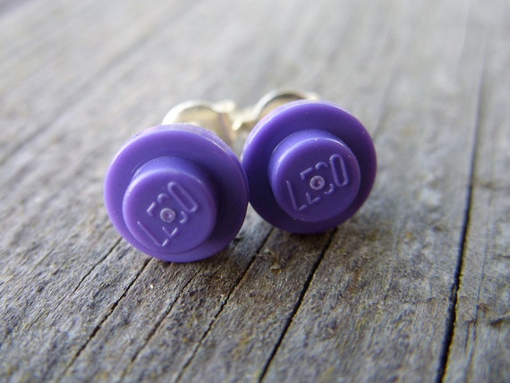 Lego post earrings lego jewelry lego earrings purple violet tiny small fun geek stud earrings toy