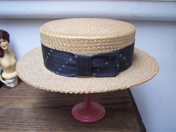 Classic Italian Boater Hat skimmer  straw 1920 Hopkins Baltimore LARGE