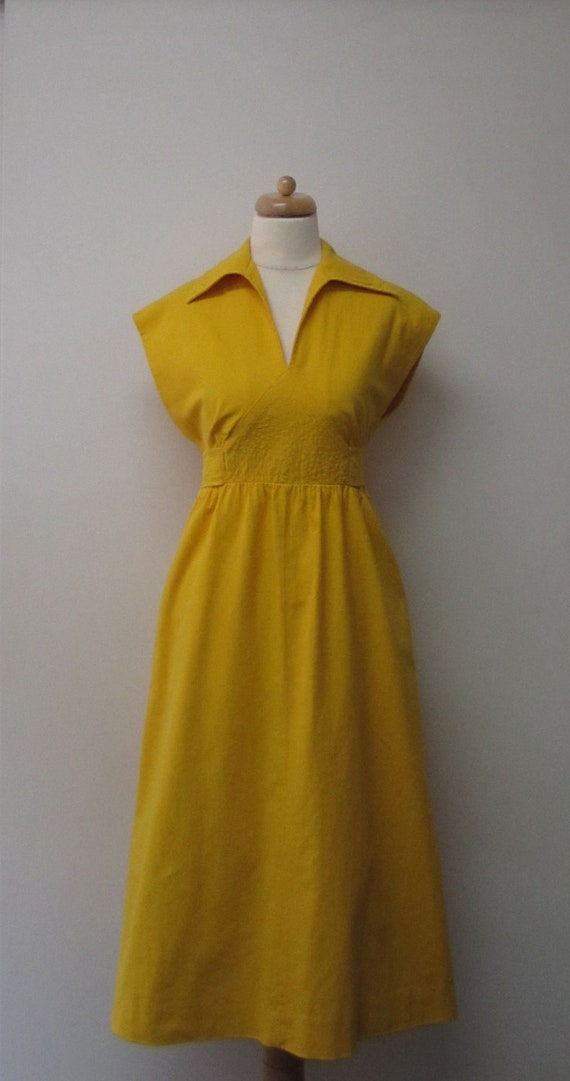 Golden Yellow Vintage Cotton Dress w/ Quilted Waist Detail-RESERVED for YELLOWVINTAGE1
