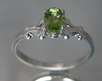 Sterling silver green peridot ring.