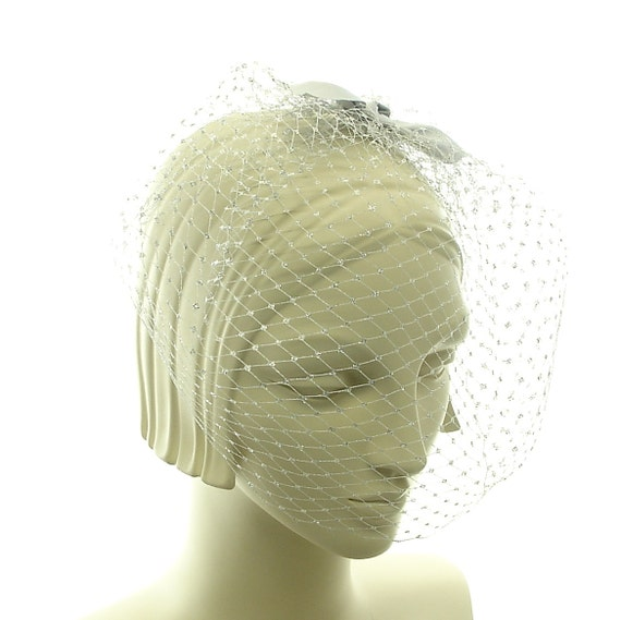 Silver Birdcage Veil - Mad Men Wedding Blusher Veil - Silver Face Veil - Ribbon Bow