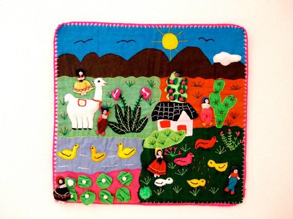 vintage arpillera // folk art quilt