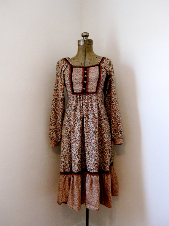 70s festival hippie floral dress // x-small