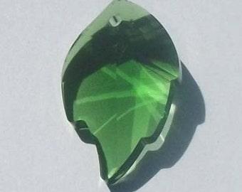 1 Celestial Crystal Pendant 25mm LEAF Crystal Pendant -- GREEN