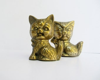 Free Shipping Vintage Small Brass Cat Figurines