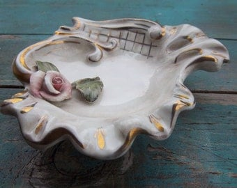 Decorative Rose Ashtray with Gold Outline