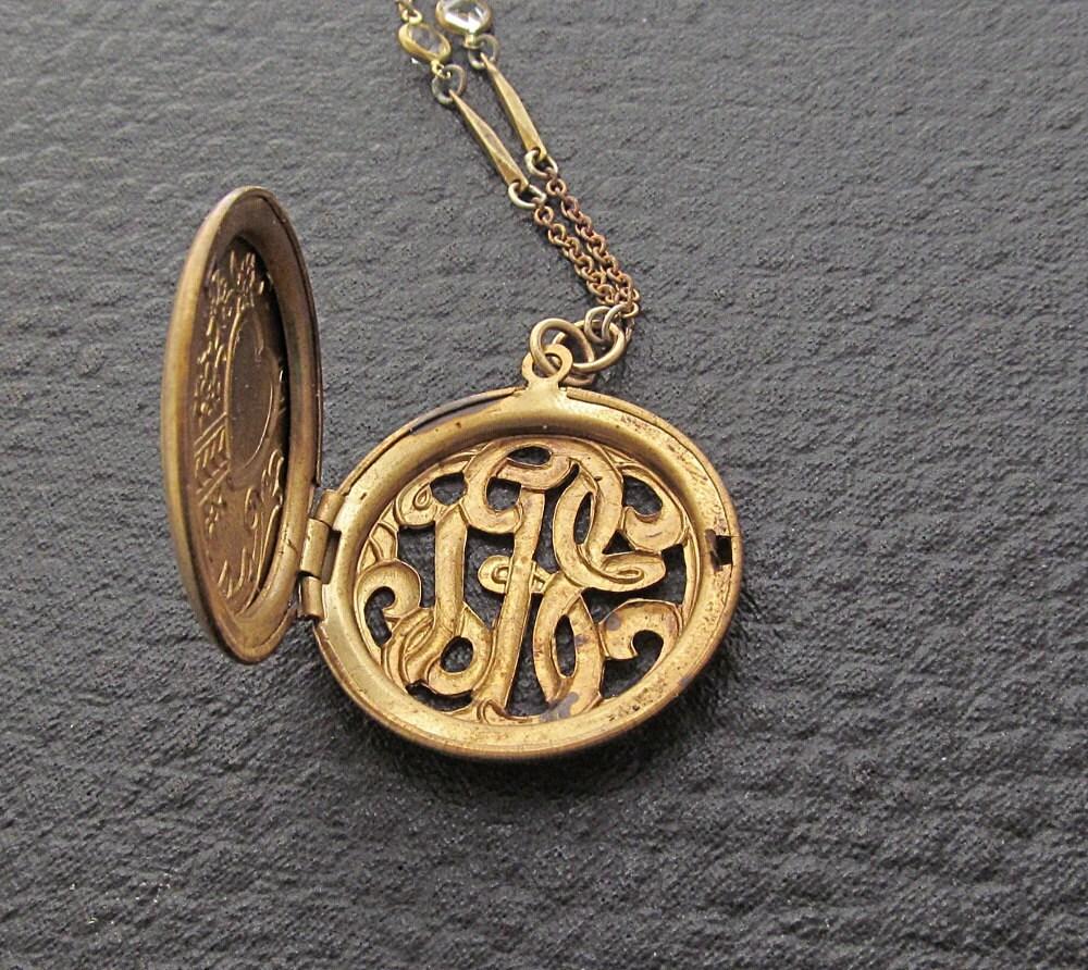 cij sale vintage monogram locket necklace locket