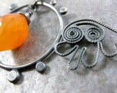 Soul window necklace - sterling silver filigree and carnelian