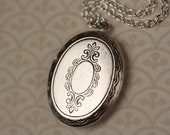 Silver Oval Locket Necklace, Vintage Floral Pendant, Long Floral Locket Necklace, Long Chain
