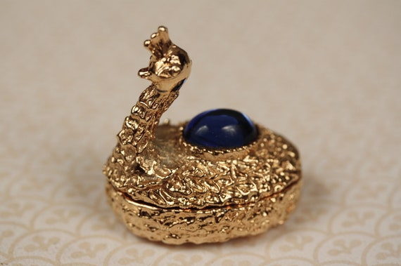 Vintage Cobalt Blue Peacock Trinket Dish, Gold Jewelry Box, Small Container, Ring Storage, Home Decor, Bird Accessories, Colorful Holder