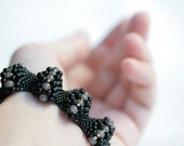 Black Beadweaving Bubbles Bracelet Glass