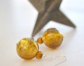 Amber Gold Hollow Glass Earrings