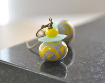 Yellow Blue Scroll Earrings, Lampwork Glass Earrings,