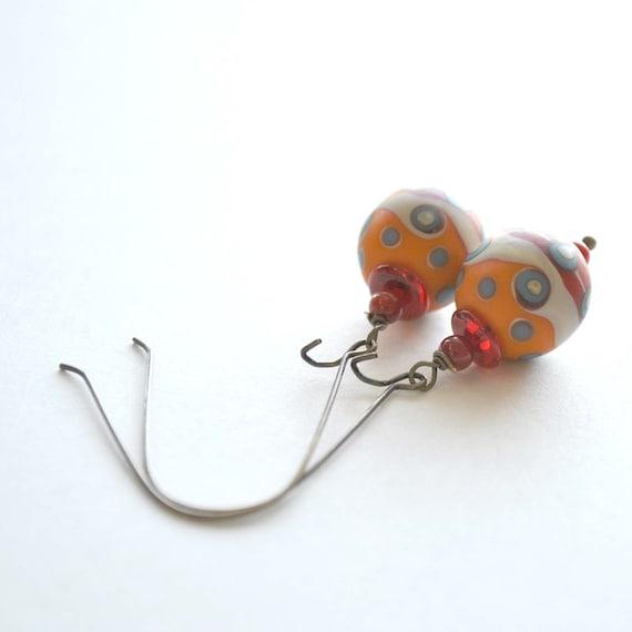 Orange Earrings, Lampwork Earrings, Abstract Design, Wave Glass Earrings, Long Earrings