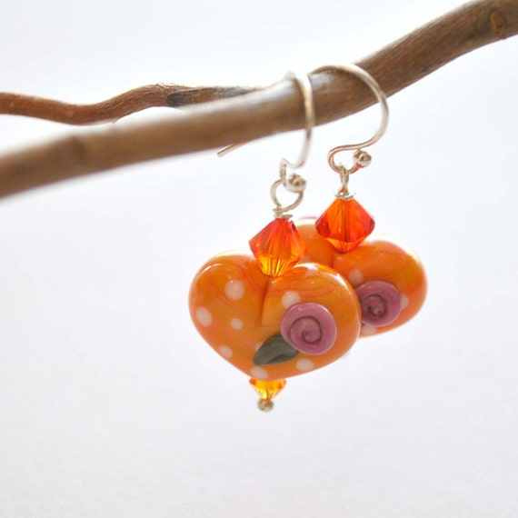 Romantic Orange Heart Earrings, Lampwork Glass Beads on Sterling Silver, Valentines Day Jewelry