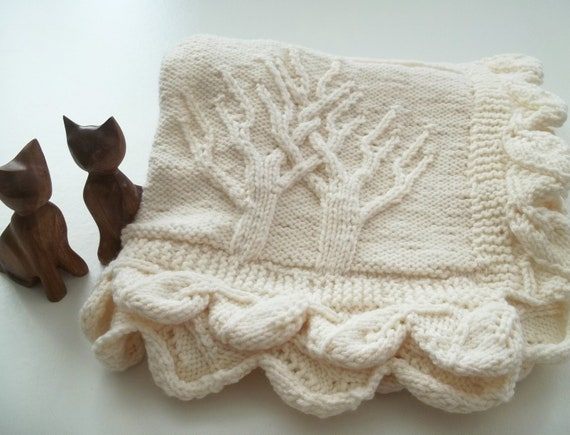 Items similar to Tree of Life Knitted Baby Blanket-Hand ...