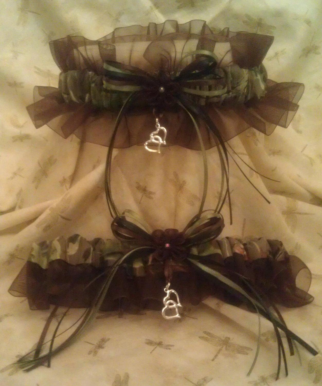 Camo Garter For Wedding: REALTREE Camouflage With BROWN Wedding Garter Set