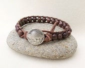 Mens Leather Wrap Bracelet in Crazy Horse Jasper Stones, Buffalo Nickel, Brown, Silver, Handmade, Leather Jewelry, by CreativeGypsy on Etsy