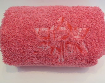 Pink Hand Towel Embroidered with Shalom in Hebrew and English