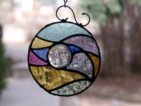 Wavy Moon Stained Glass Suncatcher