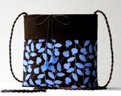 Periwinkle blue dark brown shoulder crossbody bag...matching Lucite flowers...blue cotton purse...travel friendly unique design...ON SALE