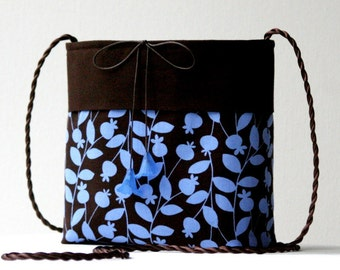 CLOSING SALE 50% OFF...periwinkle blue and chocolate brown shoulder crossbody bag...Lucite flowers...lightweight cotton travel friendly