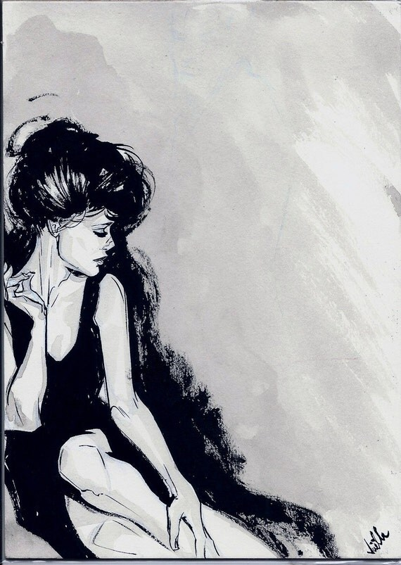 Original Joëlle Jones mini painting: Classic Fashion Portrait