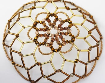 Warm Gold/Bronze kippah with sparkly center