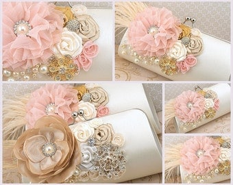 Handbag, Ivory, Gold, Tan, Champagne, Blush, Clutch, Vintage Style, Elegant, Purse,Maid of Honor, Pearls, Brooch, Crystals, Feathers, Gatsby