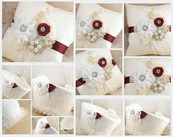Ring Bearer Pillow, Flower Girl Basket, Burgundy, Ivory, Cream, Lace, Crystal Brooch, Crystals, Pearls, Elegant, Vintage Style, Gatsby
