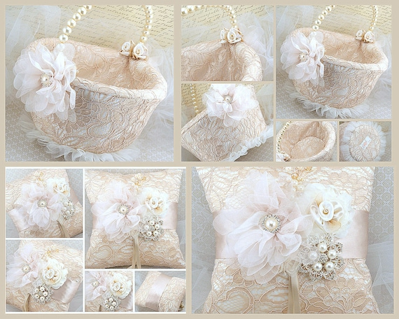 Ring Bearer Pillow, Flower Girl Basket, Champagne, Tan, Ivory, Lace Pillow, Lace Basket, Vintage Wedding, Elegant, Gatsby, Crystals, Pearls