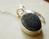 Black Agate Druzy and Wing Charm Necklace - Sterling Silver - Dark Night