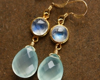 Aqua Chalcedony and Rainbow Moonstone Earrings - Teardrop Earrings - 14KT Gold Fill