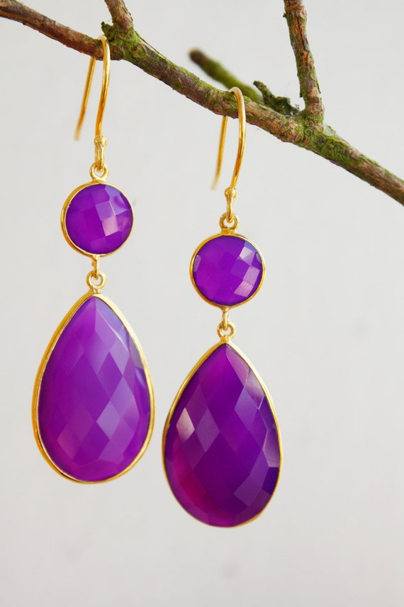 Gold Purple Chalcedony Earrings - Glamourous - Hollywood Wedding