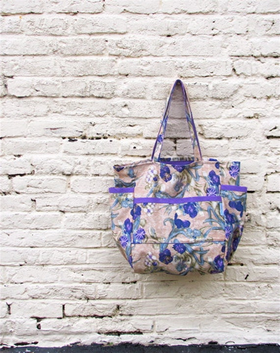 Amethyst Blooms Upcycled Large Weekender - Purple Cotton Floral Print Market  / Diaper Bag / Travel Tote - Eco Friendly Fashion - Under 50
