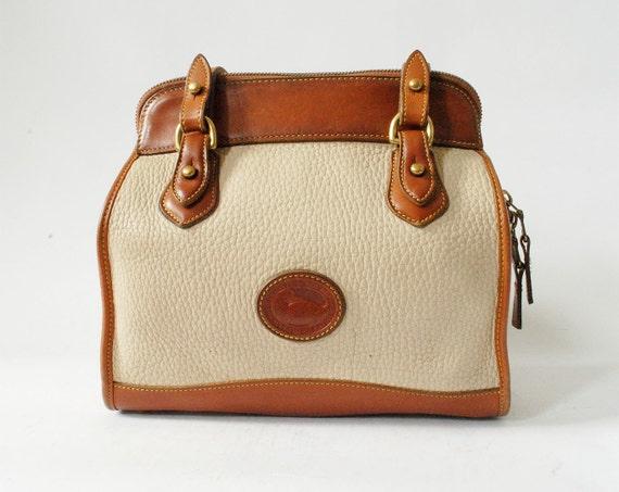 Vintage Dooney and Bourke Shoulder Bag Brown and Ivory Leather