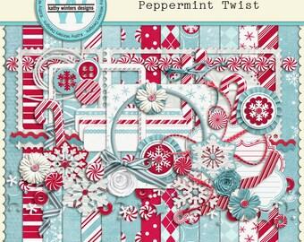 Digital Scrapbook Kit Peppermint Twist