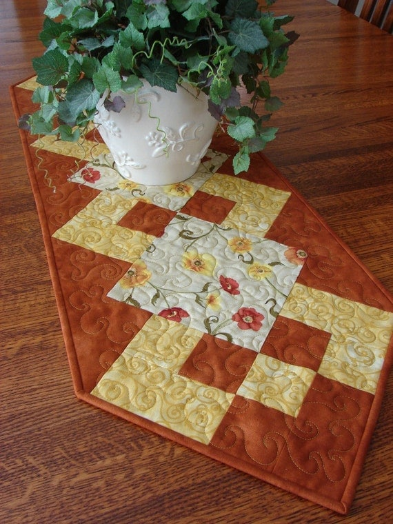Quilted Table Runner Fall Floral Rust and Golden Yellow