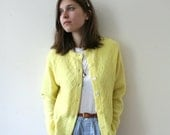Vintage 60s Canary Yellow Cable Knit Cardigan