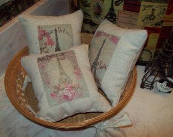 Set of 3 Small Eiffel tower pillows,Paris bedroom decor,Paris decor,Paris theme,Shabby chic,French decor,French bedroom