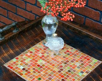 "Large Ottoman Tray. Large Serving Tray. Mosaic Ottoman Tray. Tile Serving Tray. ""Stained Glass"" Mosaic. 24 x 24. Dark Brown Finish."