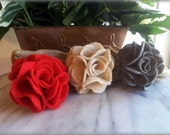Felt Flower Hair Clip -choose 3 colors- brooch pin accessory, gift for her, girls hair clip, by ktnunna