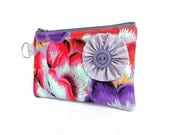 Big Blooms Flower Zippered Bag / Coin Purse / ID Case / Gadget Pouch with Split Ring - Ready to Ship