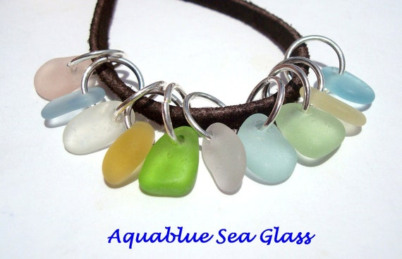 10 Sea Glass  TINY to EXTRA Tiny   Top Drilled English  Sea Glass Charms Yellow, Pale Blue  Pale Pink Aquas   (599)