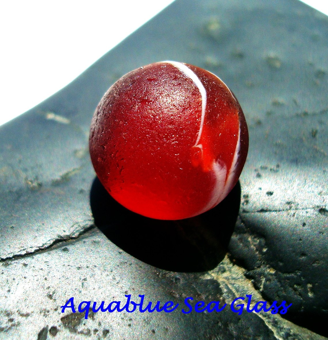 Red Sea Glass Small Marble Rare And Beautiful From Puerto