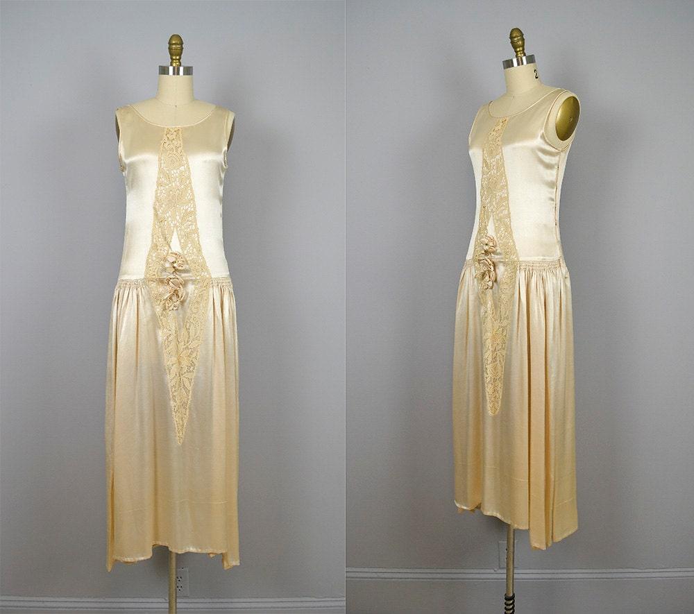 1920s wedding dress vintage 20s champagne silk lace flapper for Vintage 20s wedding dresses