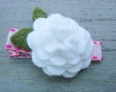 Pink Ribbon Clip with White Felt Flower Blossom