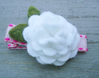 Pink Ribbon Clip with White Felt Flower Blossom