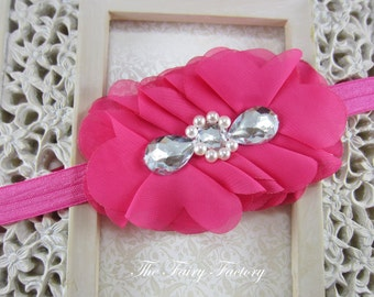 Hot Pink Flower Headband, Hot Pink Chiffon Flower Puff w/ Pearls & Rhinestones Headband or Hair Clip, The Cecilia, Baby Child Girls Headband