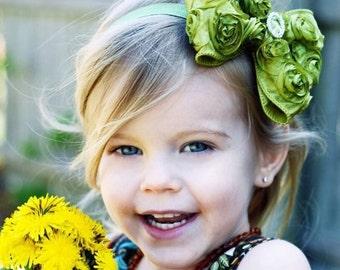 Green Hair Bow, Pear Green Satin Rosette Hair Bow w/ Crystal Center Headband or Hair Clip, The Virginia, Infant Baby Child Girls Headband